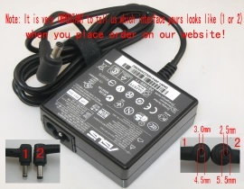 UX50V-XX002C laptop adapter, 19V 65W original ASUS adaptrar
